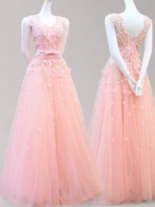 Artistic Tulle Sleeveless Floor Length Pageant Dress for Teens and Appliques and Bowknot