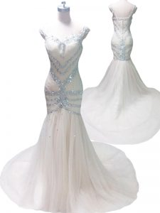Mermaid Straps White Tulle Zipper Pageant Dress for Teens Sleeveless With Train Court Train Beading