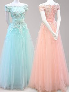 Chic Off the Shoulder Cap Sleeves Floor Length Beading and Appliques Zipper Glitz Pageant Dress with Light Blue and Peach
