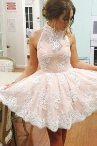 Dynamic Champagne Sleeveless Lace Mini Length Pageant Dress for Teens