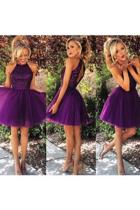 Flare Organza High-neck Sleeveless Backless Beading and Ruching Pageant Dress for Womens in Purple
