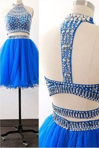 Hot Selling High-neck Sleeveless Pageant Dress Wholesale Mini Length Sashes ribbons Royal Blue Tulle