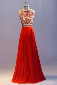 Admirable Chiffon Scoop Sleeveless Side Zipper Beading and Pleated Pageant Gowns in Coral Red