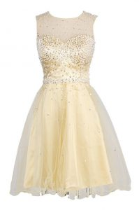 Scoop Sequins Pageant Dress Wholesale Yellow Zipper Sleeveless Knee Length