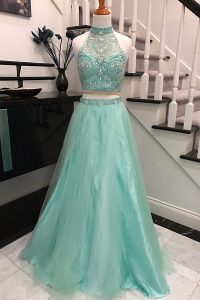 Halter Top Beading Pageant Gowns Apple Green Backless Sleeveless With Train Sweep Train