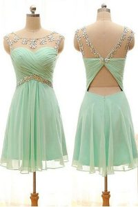 Knee Length Zipper Pageant Dress Toddler Apple Green for Prom and Party with Beading