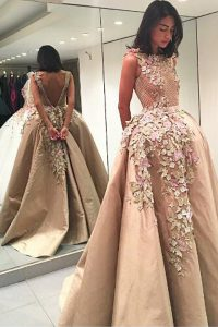 Satin Bateau Sleeveless Backless Lace and Appliques Pageant Dress for Girls in Champagne