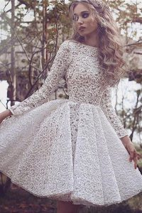 Traditional White Long Sleeves Lace Mini Length High School Pageant Dress