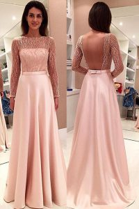 Simple Pink Satin Backless Bateau Long Sleeves With Train Pageant Gowns Sweep Train Beading