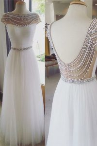 Sexy Cap Sleeves Beading Zipper Pageant Dress for Teens