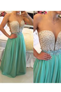 Floor Length Zipper Evening Gowns Turquoise for Prom and Party with Beading