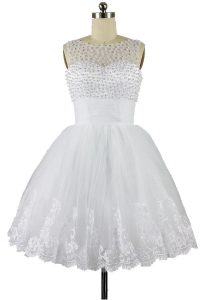 Fantastic Beading and Appliques Pageant Gowns White Zipper Sleeveless Knee Length