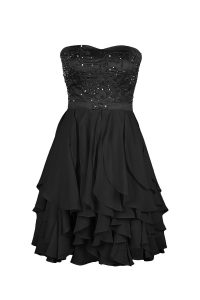 Customized Black Strapless Neckline Beading and Appliques Pageant Dress Toddler Sleeveless Zipper
