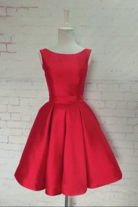 Unique Bateau Sleeveless Satin Custom Made Pageant Dress Bowknot Backless