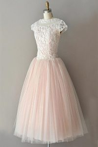 Edgy Pink Cap Sleeves Tulle Zipper Pageant Dress for Girls for Prom and Party