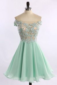 Sweet Off the Shoulder Mini Length Zipper Pageant Dress for Teens Apple Green for Prom and Party with Beading and Appliques