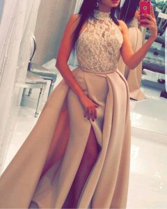 On Sale Mermaid Champagne Pageant Gowns Prom with Beading and Appliques High-neck Sleeveless Sweep Train Zipper