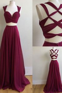 Burgundy A-line Ruching Pageant Dress for Girls Criss Cross Chiffon Sleeveless With Train