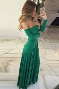 Off the Shoulder Green Zipper Pageant Dress Wholesale Ruching Long Sleeves Floor Length