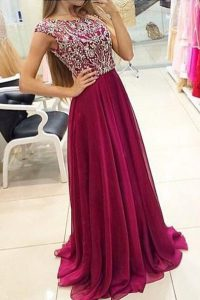 Gorgeous Bateau Cap Sleeves Pageant Dresses With Train Sweep Train Beading Burgundy Chiffon