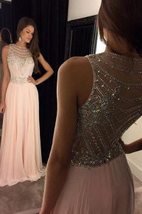 High End Pink Criss Cross Scoop Beading Pageant Dresses Chiffon Sleeveless Sweep Train