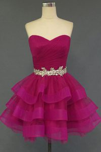 Discount Fuchsia A-line Organza Sweetheart Sleeveless Beading Mini Length Lace Up Pageant Dress Wholesale