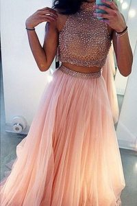 Peach Sleeveless With Train Beading Side Zipper Winning Pageant Gowns