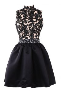 High-neck Sleeveless Pageant Dress Toddler Knee Length Beading and Appliques Black Satin