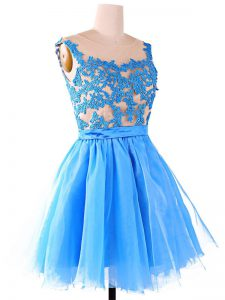Pretty A-line Glitz Pageant Dress Baby Blue Scoop Organza and Tulle and Lace Sleeveless Knee Length Zipper