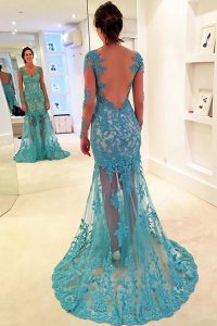 Simple Mermaid With Train Backless Pageant Dresses Blue for Prom with Lace Brush Train