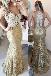 Noble Mermaid Lace Sleeveless Pageant Gowns Brush Train and Lace and Belt