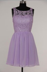 Clearance Lavender A-line Chiffon and Lace Scoop Sleeveless Lace Knee Length Zipper High School Pageant Dress
