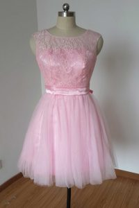 Lovely Tulle and Lace Scoop Sleeveless Backless Lace and Bowknot Pageant Dress Toddler in Pink