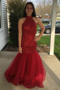 Dynamic Mermaid Red Sleeveless Floor Length Sequins Zipper Pageant Dress for Womens