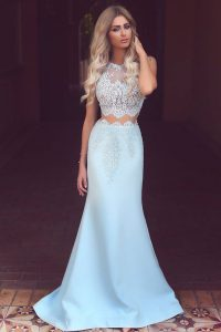 Light Blue Mermaid Scoop Sleeveless Satin Sweep Train Zipper Lace Pageant Gowns