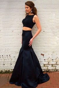 Mermaid Black Elastic Woven Satin Backless Bateau Sleeveless Custom Made Pageant Dress Sweep Train Beading