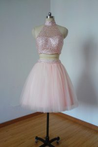 Sleeveless Tulle Mini Length Zipper Pageant Dress for Girls in Pink with Beading