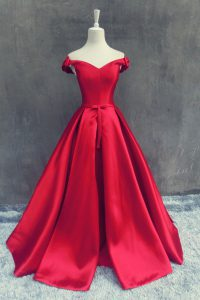 Off The Shoulder Short Sleeves Sweep Train Zipper Pageant Dress Wholesale Red Satin