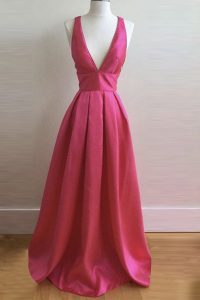 Hot Pink Sleeveless Pleated Floor Length Pageant Dress