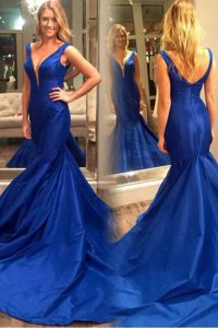 Mermaid Royal Blue Pageant Dress for Girls Prom with Pleated V-neck Sleeveless Court Train Zipper