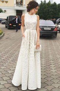 Popular Scoop Lace Floor Length Zipper Pageant Dress White for Prom and Party with Pleated