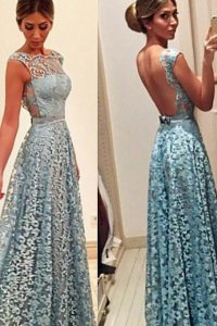 Noble Floor Length Turquoise Pageant Dress for Girls Lace Sleeveless Lace