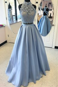 Stunning Sleeveless Lace Criss Cross Pageant Gowns with Light Blue
