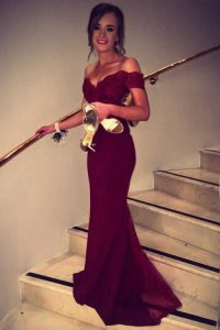 Off the Shoulder Burgundy Satin Backless Evening Gowns Short Sleeves Brush Train Lace