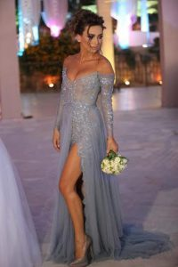 Sweep Train Column/Sheath Pageant Dress for Teens Grey Off The Shoulder Organza Long Sleeves With Train Zipper