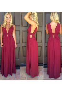 Burgundy Side Zipper V-neck Ruching Winning Pageant Gowns Elastic Woven Satin Sleeveless