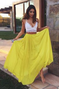 Latest Floor Length Zipper Glitz Pageant Dress Yellow for Prom and Party with Ruching