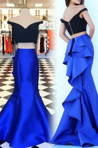 Great Mermaid Royal Blue Satin Zipper Off The Shoulder Short Sleeves With Train Winning Pageant Gowns Sweep Train Ruffles