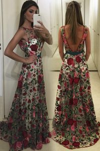 Spectacular Lace Scoop Sleeveless Sweep Train Backless Lace and Pattern Pageant Dress for Teens in Multi-color