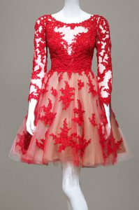 Great Red A-line Lace Scoop Long Sleeves Appliques Knee Length Zipper Custom Made Pageant Dress